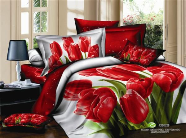 Good Red Tulip Floral Comforter Bedding Set Queen Size Bedspread Duvet Cover Bed  In A Bag Sheet Sheets Bedsheet Quilt Linen Cotton Home Texile Bedclothes ...