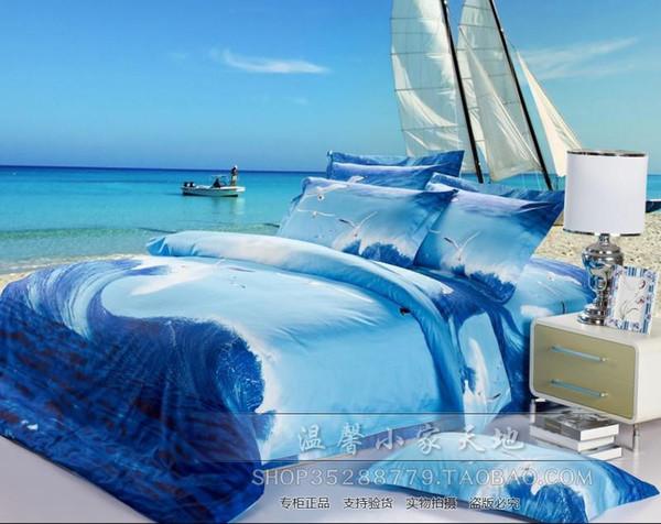 Blue Seagull Ocean Comforter Bedding Set Queen Size