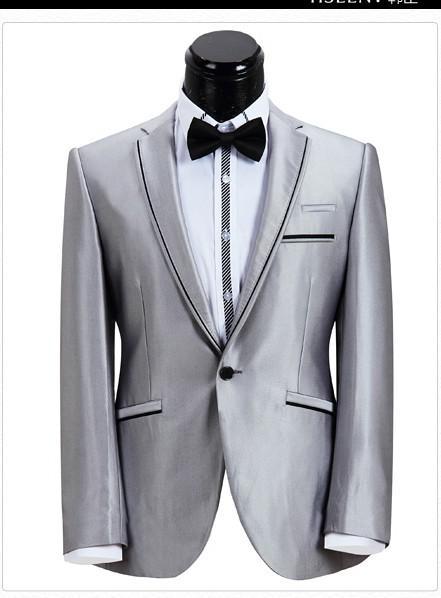 Hot Recomendar Prata Cinza Do Noivo Smoking Slim Fit Vestido De Casamento Dos Homens de Roupas de Baile Jaqueta + calça + Gravata + Cinto A8030