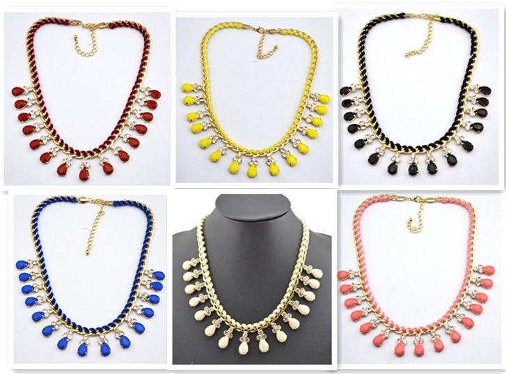 Fashion Style plaqué or métal strass corde Faux Gem Drop Choker Collier Déclaration