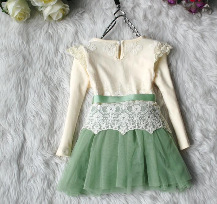 Stokta Bebek Çocuk Elbise Kız Dantel Kelebek Tül TUTU Elbise Kızlar Uzun Kollu Prenses Elbise Çocuk Bebek Elbiseleri Kız Giyim 5351