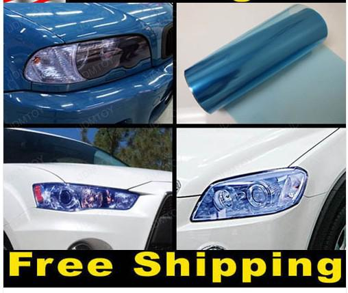 12 X 48 Blue Tint Headlight Fog Light Vinyl Film Black