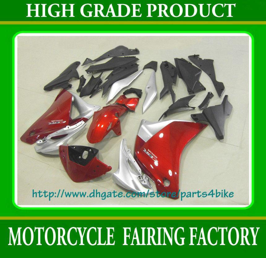 Ensemble de carénage d'injection corps noir argent rouge pour moto Honda CBR 250R 12 CBR250R 2012 RX5x