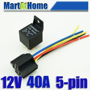 5pin 12V DC 3040A Automotive Auto Relay Relay Socket Whit