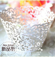 Wholesale Christmas Decorations For Cakes - wedding Cake Wrapper 120pc white Ivory Laser-cut Lace Cupcake Wrapper FOR Wedding christmas Party Decoration (set of 120) O#37E