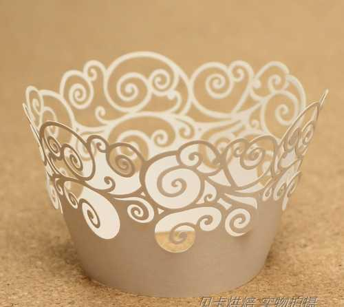 nueva Wedding Party Decoration Ivory Laser-Lace Lace Wrapper Cupcake Wrapper multicolor (juego de 120) # 37E
