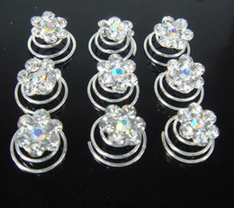 Wholesale Spin Pin Hair Clips - New arrive 100Pcs Wedding Flower White Crystal Hair Twists Spins Pins