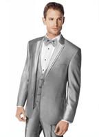 Wholesale Royal Blue Waistcoat - New Arrival!!! Handsome Silver Color Bridegroom Groomman Tuxedo(jacket+pant+tie+waistcoat)