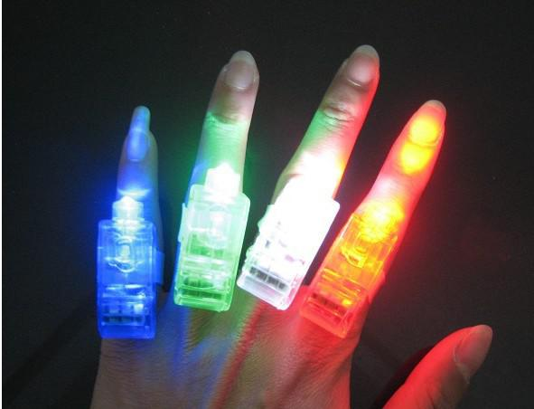 100 pçs / lote LED dedo lâmpada, luz piscando luz de dedo, lâmpada de dedo de dedo óptico