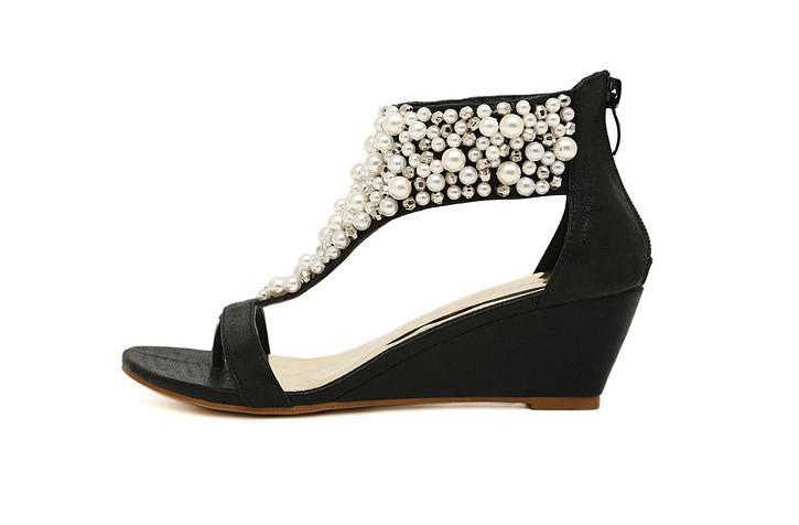 T-Cinta romana da pérola das Mulheres Aberto toed Sandálias de Cunha sapatos de noiva Sapatos de Casamento Bombas de Noite LL3304