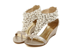 Wholesale Bride Heel Sandals - Women's Roman pearl T-Strap Open toed Wedge Sandals bride shoes Wedding Shoes Evening Pumps LL3304