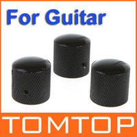 Wholesale Electric Guitar Parts Knobs - 3PCS set Chromed Metal Dome Knobs Knurled Barrel for Electric Guitar Parts Black Free Shipping I167