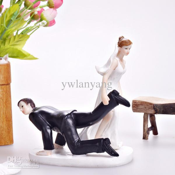 cheap wedding cake toppers dragging the groom wedding cake decoration cupcake topper 12546