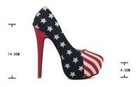 Wholesale High Heels Flag Pump - New 14.5CM high Womens Platform America Flag Stiletto Super High Heels Shoes
