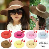 chapeau de renard blanc et noir achat en gros de-Chapeaux pour filles à bord large Enfant fille chapeau bébé chapeau de plage