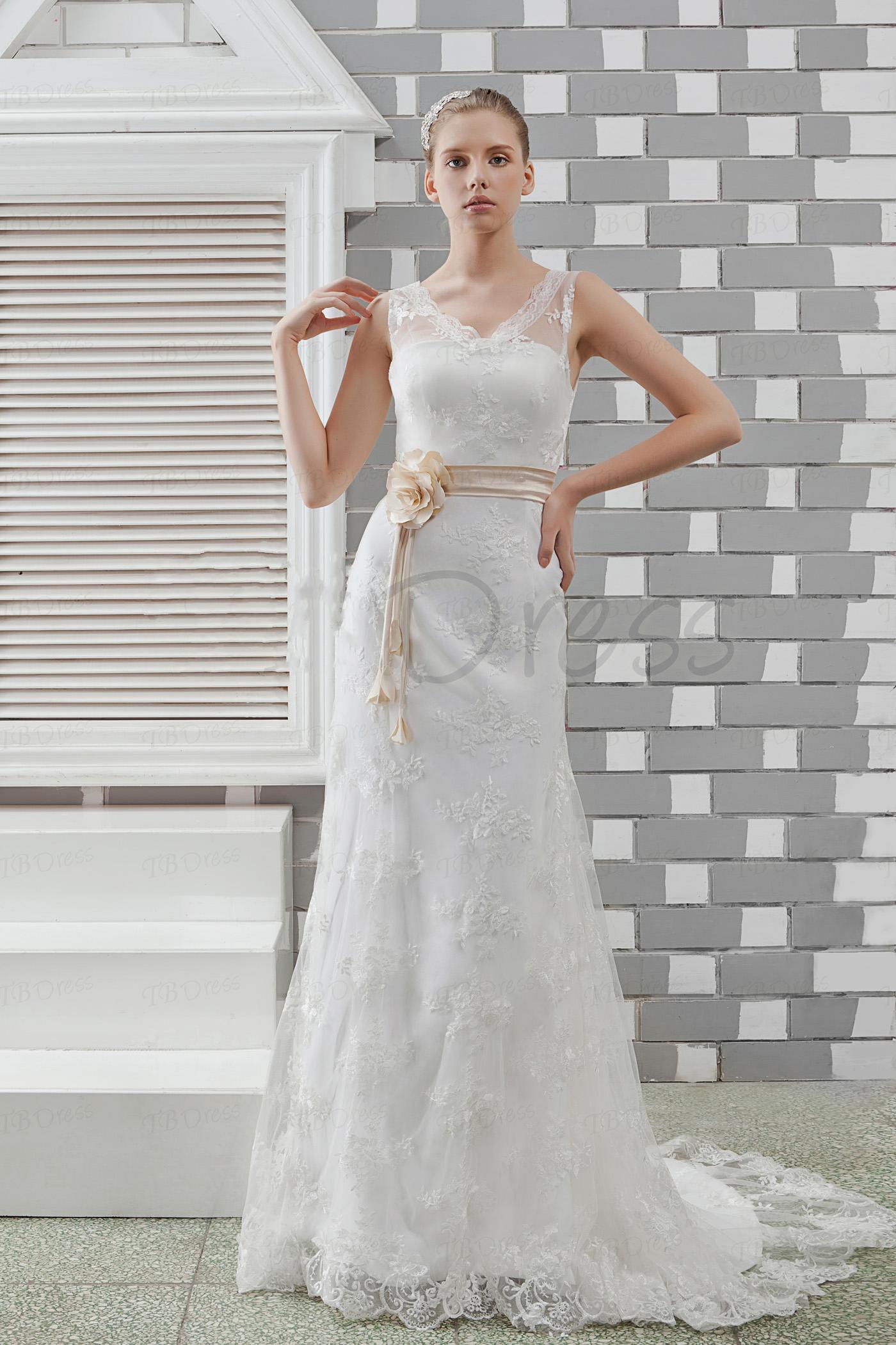 Bainha elegante 2013 / coluna vestido de noiva sem mangas com decote em v laço Vintage Anita