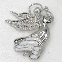 Wholesale Clear Crystal Rhinestone Enamel Angels Brooches Fashion Costume Pin Brooch C124 A