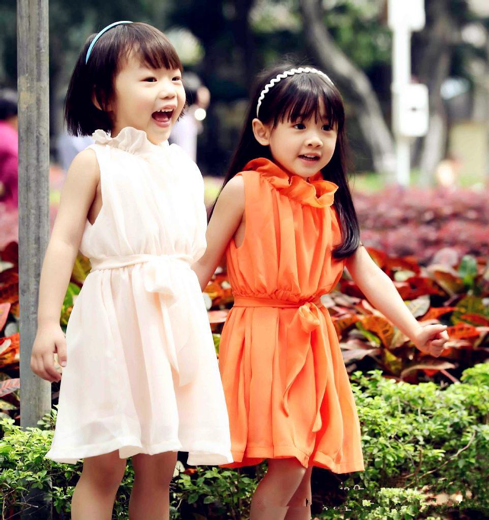 2013 Girls Chiffon Dress Summer Sleeveless Petal Collar Dress Exclusive Sources Children's Clothing