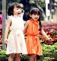 çocukların yazları toptan satış-2013 kızlar şifon elbise yaz kolsuz petal yaka elbise özel kaynakları çocuk giyim