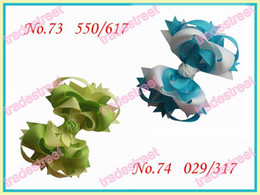 "Wholesale Girl Funky - free shipping 30pcs fashion 3.5"" Funky hair bows boutique girl hair bows ribbon hair clips"