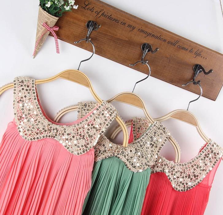 2013 meninas ruffl dress coreano meninas lantejoulas boneca gola chiffon vestidos plissados roupas infantis