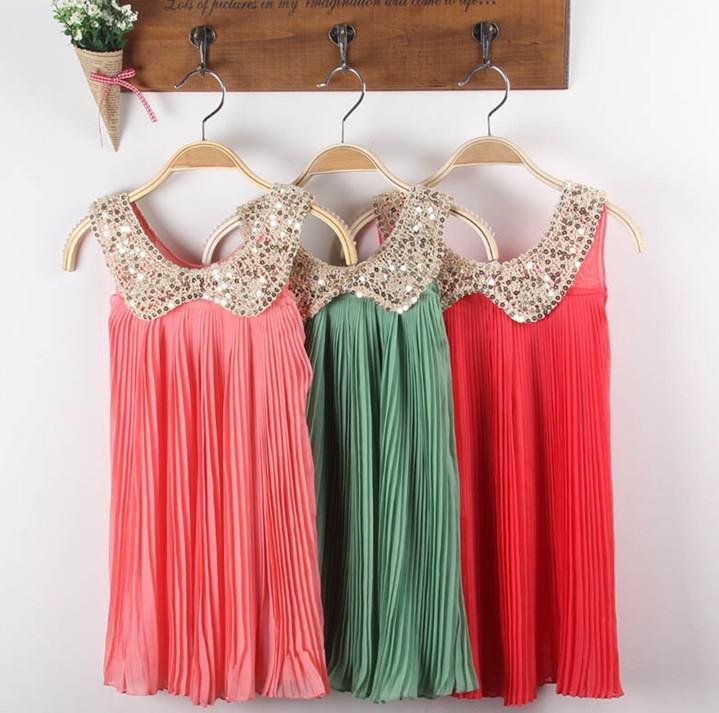 2013 ragazze Ruffl Dress coreano ragazze paillettes bambola colletto in chiffon abiti pieghettati abbigliamento bambini
