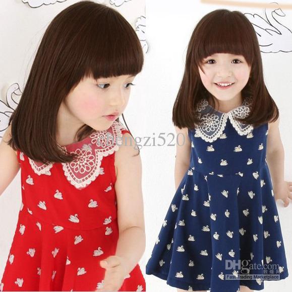 2013 Girls Swan Dresses Lovely Doll Collar Girls Swan Pattern Vest Dress Children's Clothing