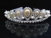 Wholesale Pearl Frontlet - 2013 l Bridal Pearl crown headdress frontlet barrette Tiaras & Hair Accessories wedding dress 15*4cm