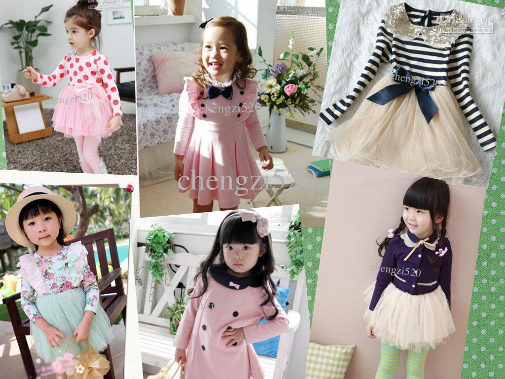 Girls Lovely Dresses Long-sleeved Hot Style Spring & Autumn Children Dress EMS free shipping