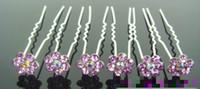 Wholesale Wholesale Swarovski Hair Pins - Hot 20Pcs Wedding Bridal Swarovski Purple Ctystal Flower Hair Pin GJ15