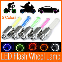 Wholesale Led Tire Flash - Hot!!! free shipping Car Motorcycle Bicycle Tire Wheel Valve Cap Led Flash Light 5 colors 100pcs lot