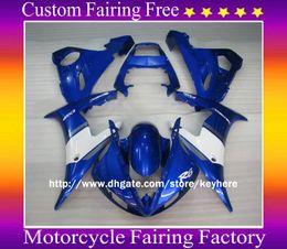 Wholesale R6 Body Kits - 1 set ABS Motocycle body for YAMAHA YZF R6 2003 2004 YZF-R6 03 04 White+Blue Fairing KIT