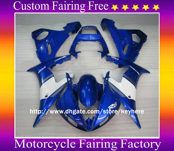 1 set ABS Motocycle body for YAMAHA YZF R6 2003 2004 YZF-R6 03 04 White+Blue Fairing KIT