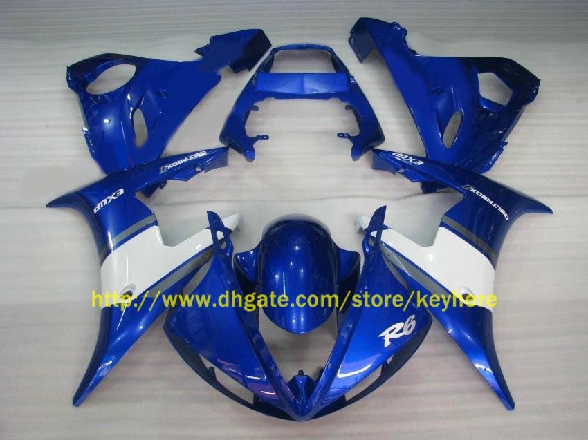 1 kit ABS Corps de moto pour YAMAHA YZF R6 2003 2004 YZF-R6 03 04 Blanc + Bleu KIT de carénage