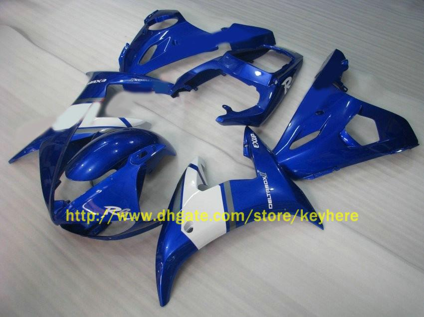 ABS Motoctycle Lichaam voor Yamaha YZF R6 2003 2004 YZF-R6 03 04 White + Blue Fairing Kit
