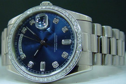 Wholesale Mens Auto Wind Watches - Mens Blue Dial Diamond Day Date 2 Watch Men's Perpetual Men Dress President Dive Watches Automatic