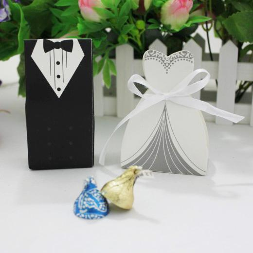 New Candy Box Bride Groom Wedding Bridal Favor Gift Boxes 100 pairs 200 pcs Gown Tuxedo