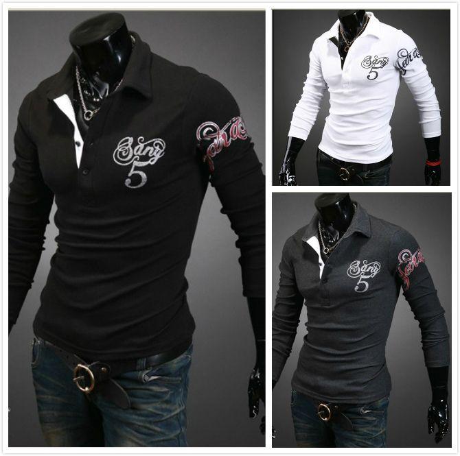 2017 2013 Men'S T Shirts Slim Korean Long Sleeve Mens T Shirts ...