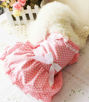 Wholesale lovely XS XL cotta pink dot back bowknot spring amp summer Cute dog pet teddy princess skirt clothes
