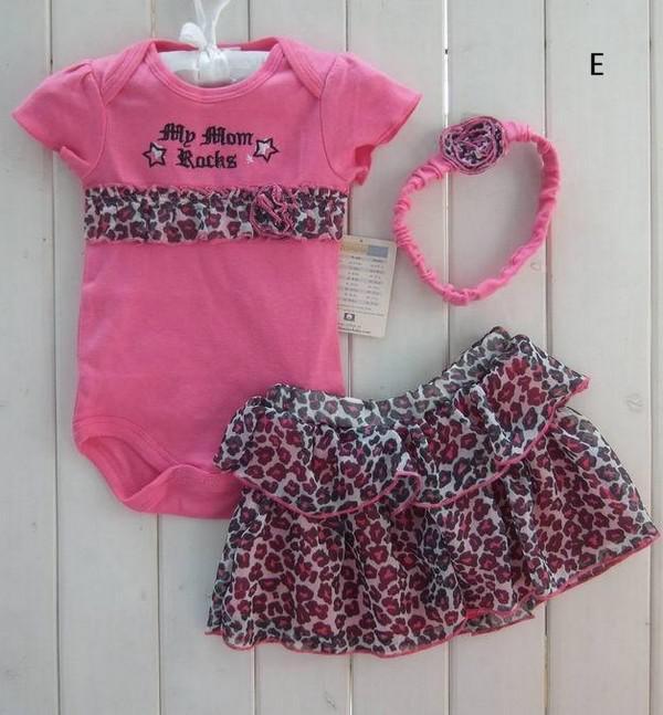 New Girl 3 PCS Set Leopard Romper Bodysuit & Ruffled Skirt Dress & Headband Bow U pick Size & Design
