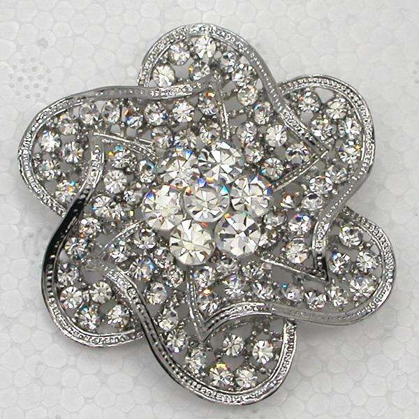12pcs / lot monili all'ingrosso di modo chiaro rhinestone di cristallo del fiore spille damigella d'onore della cerimonia nuziale prom Pin spilla C2091