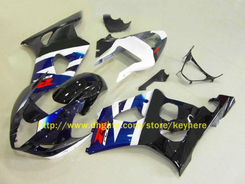 For SUZUKI 2003 2004 GSX-R1000 GSXR 1000 03 04 GSXR1000 K3 Blue White Black Racing Version Fairing 1