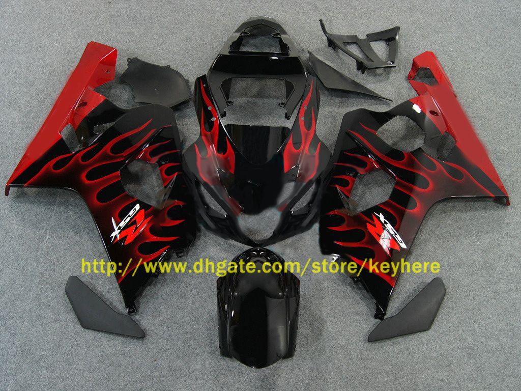 Für 2004 2005 GSX-R600 GSXR 750 600 04 05 GSXR600 K4 Red Flammen Verkleidung 64Z02