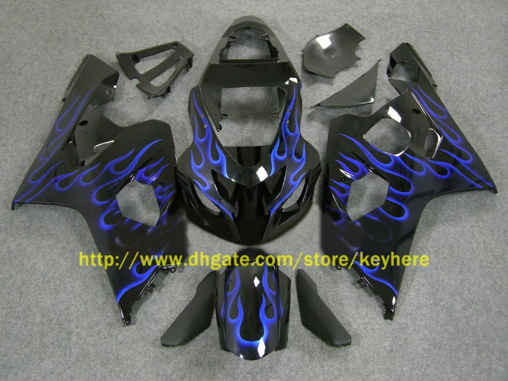 För 2004 2005 GSX-R600 GSXR 750 600 GSXR600 K4 Blue Flames Fairing 64z03