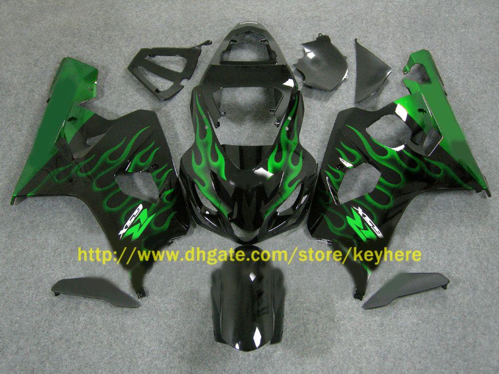 Para Suzuki 2004 2005 GSX-R600 GSXR 750 600 04 05 GSXR600 K4 Green Flames Fairing 64Z07