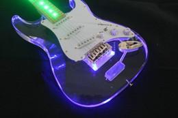 Wholesale Led Crystal Acrylic Guitar - NEW ST LED Crystal Acrylic plexiglass electric guitar