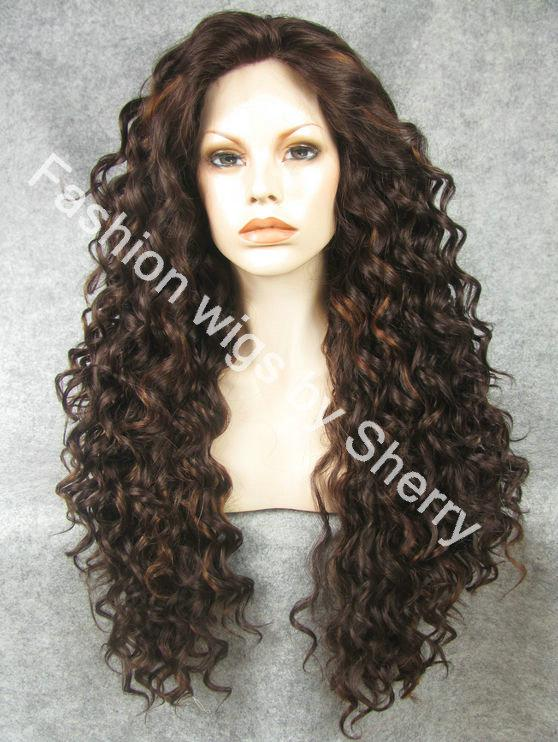 """26"""" Extra Long #6/30 Highlighted Brown Heat Friendly Lace Front Synthetic Hair Curly Wig"""