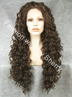 "Wholesale Extra Long Lace Hair - 26"" Extra Long #6 8 Mix Brown Heat Friendly Lace Front Synthetic Hair Curly Wig"