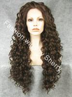 ingrosso parrucche frontali in pizzo merletto marrone-Parrucca riccia per capelli sintetica parrucca marrone anticrespo da 26