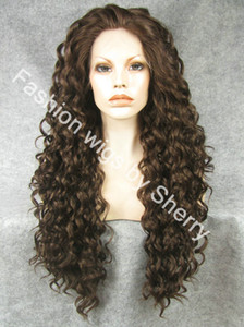 Wholesale 26 quot Extra Long Mix Brown Heat Friendly Lace Front Synthetic Hair Curly Wig